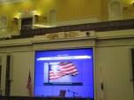 screen behind Senate President