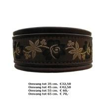 halsband, bruin, bloemen