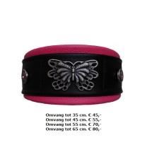 roze zwarte halsband, leer, vlinder, metalen,