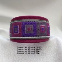 halsband, vierkantjes, fleurige kleuren, halsband teefje