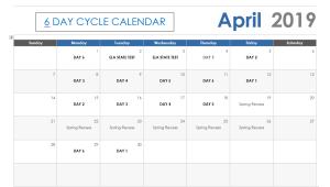 April 2019 6 Day Calendar