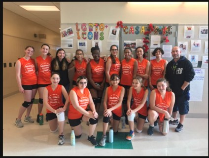 The Lady Bulldogs Volley ball Team with Coach