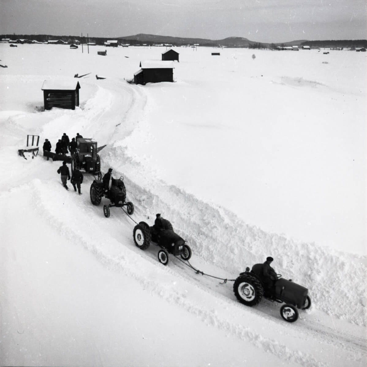 Fyra sammankopplade traktorer drar en plog i ett snöigt landskap.
