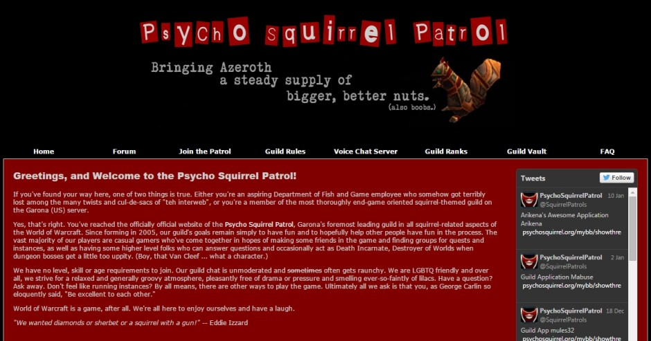 Psycho Squirrel Patrol website