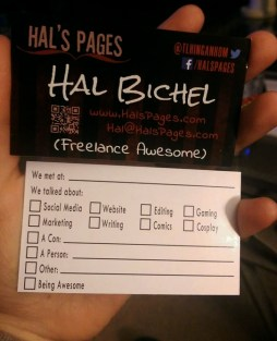 """Showing front and back of my business card. Front reads """"freelance awesome""""; back has list of checkboxes & blanks to fill out"""