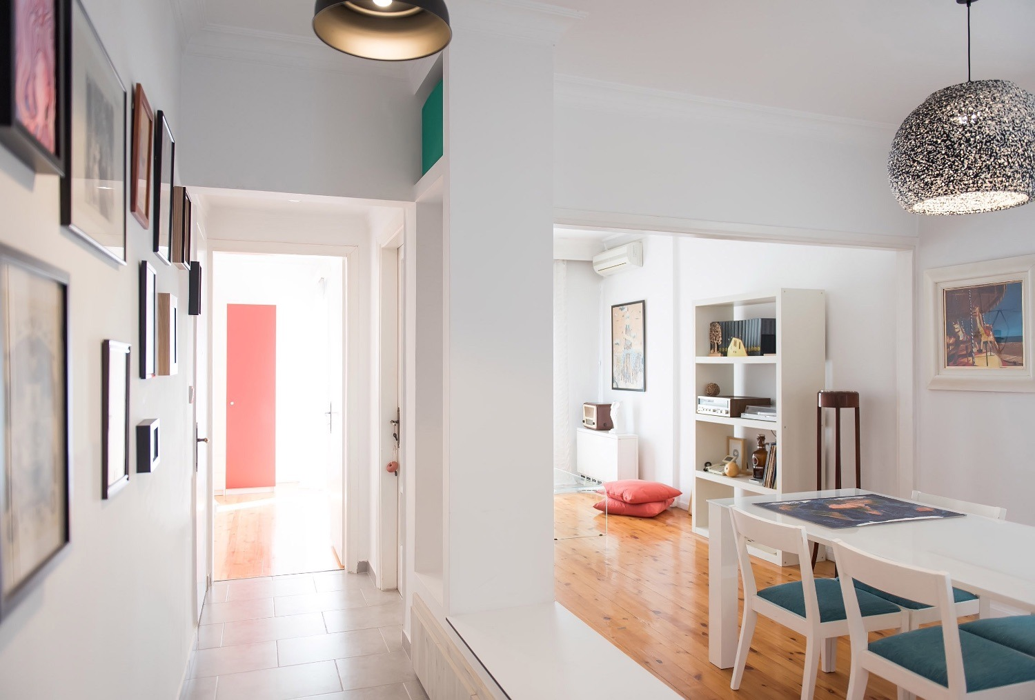 Apartment Hallway with Dining Area, Living Room and Bedroom view