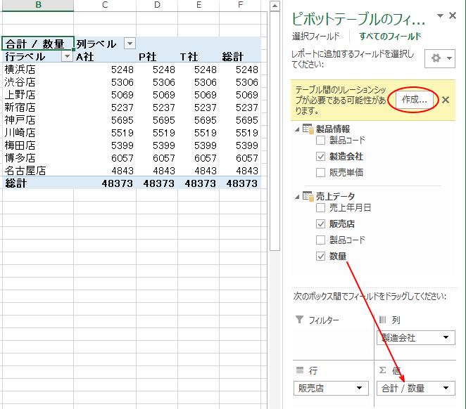 ピボットテーブルの[値]ボックスへ[数量]フィールドをドラッグ