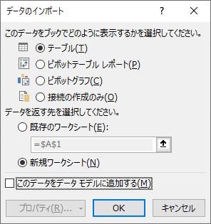 [データのインポート]ダイアログボックス