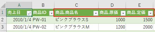 [元の列名をプレフィックスとして使用します]のチェックボックスをオンにした時の列名