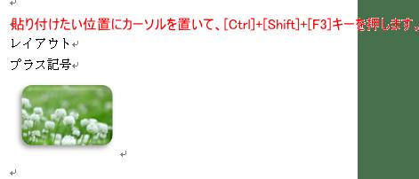 [Ctrl]+[Shift]+[F3]キーで貼り付け