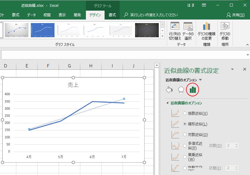[近似曲線の書式設定]作業ウィンドウ