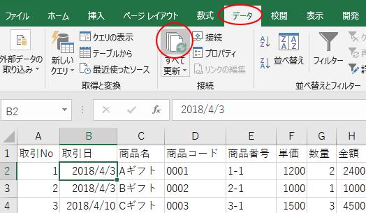 [データ]タブの[接続]グループにある[すべて更新]