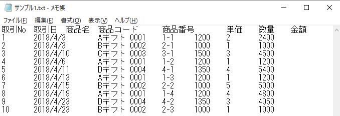 TXT形式のテキストファイル
