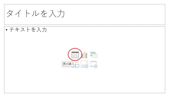 [表の挿入]アイコン