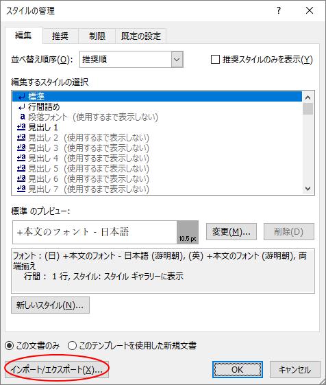 [スタイルの管理]ダイアログボックス