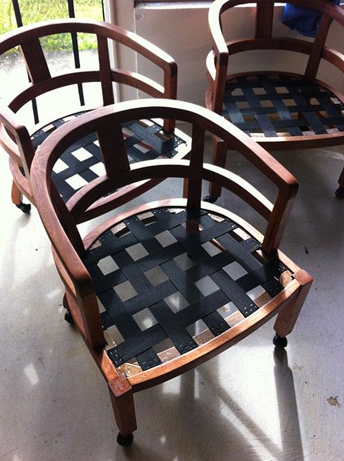 Reupholstered Koa Wood Dining Chairs Hamakua Canvas