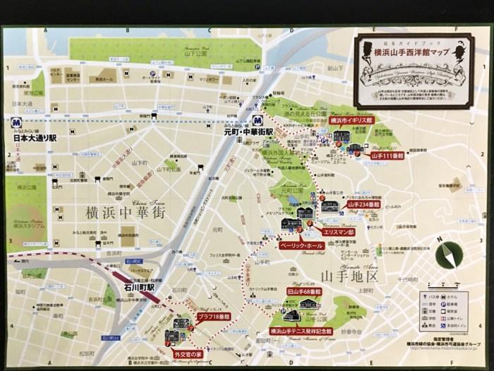横浜山手西洋館巡りのマップ