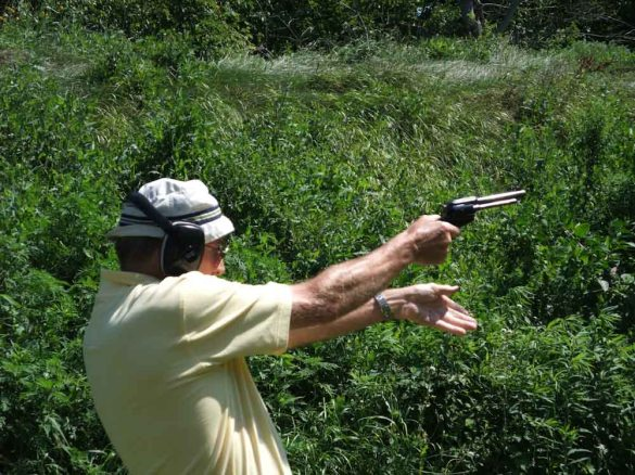 My Father trying out a gun :-)