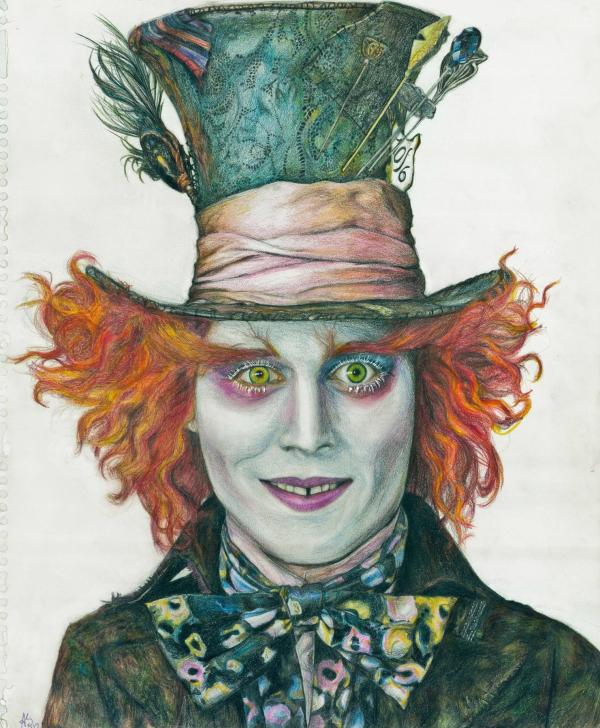 Johnny Depp as Mad Hatter Drawing