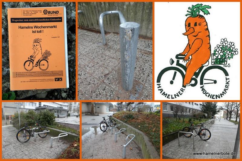 Neue Fahrradständer am Wochenmarkt/Rathausplatz.