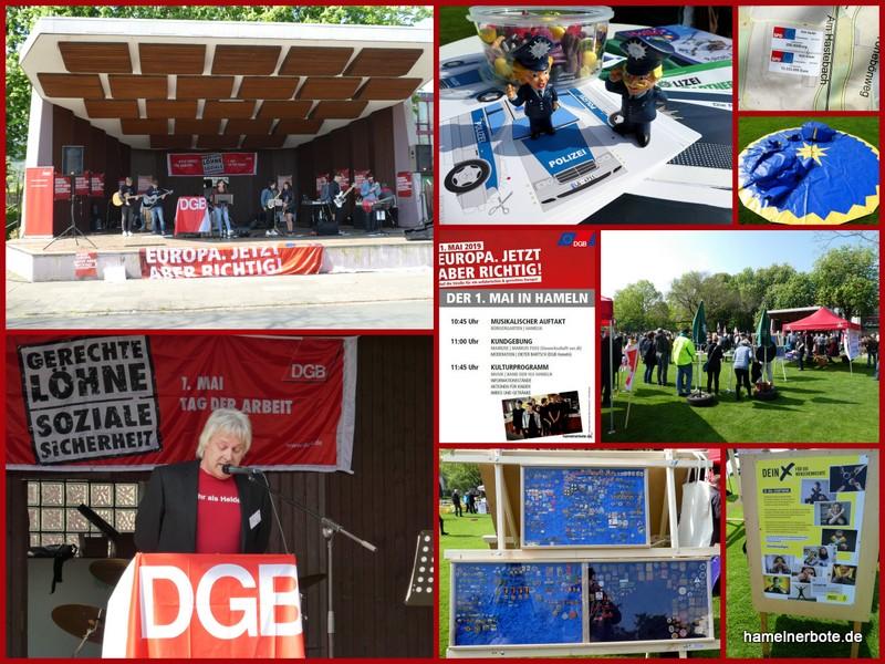 Verlaufsbericht in Bilder – Der 1. Mai – Gewerkschaftskundgebung im Bürgergarten Hameln 2019