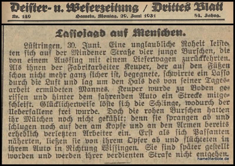 """Fundstück –  DEWEZET: """"Schleifmordversuch"""" vor 88 Jahren."""
