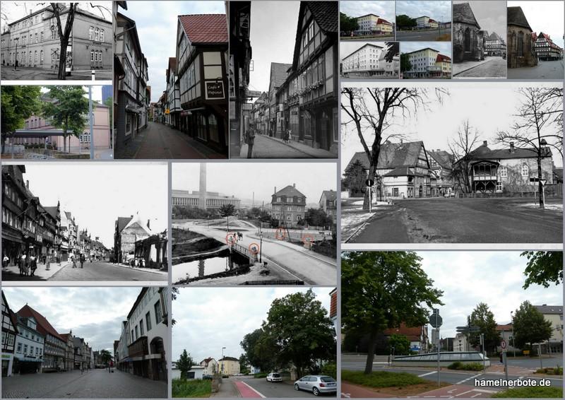 Gestern und heute: Vergleichsfotos Stadtgebiet Hameln (7.7.2019)