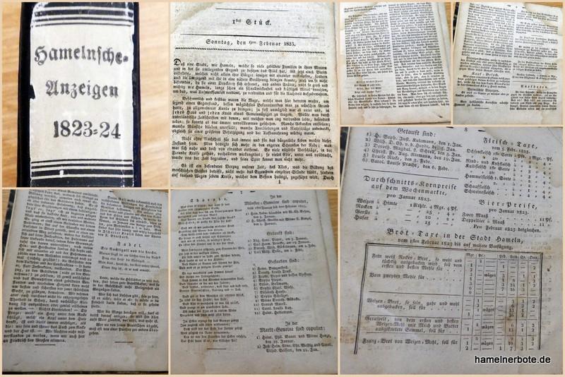 Hamelnsche Anzeigen – Erstausgabe Sonntag, den 9ten Februar 1823