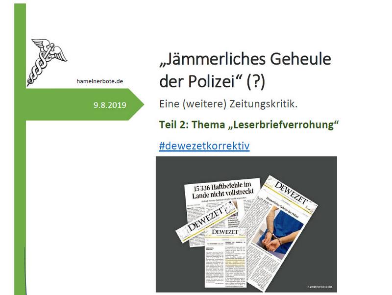"""""""Jämmerliches Geheule der Polizei"""" (?)"""