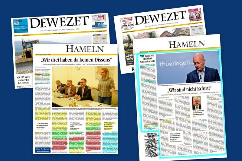 """""""Aufregerthema"""" AfD im Blick der DEWEZET vom 12./13.02.2020"""