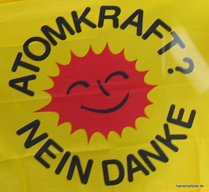 50 Atomkraftgegener*innen zeigen Flagge