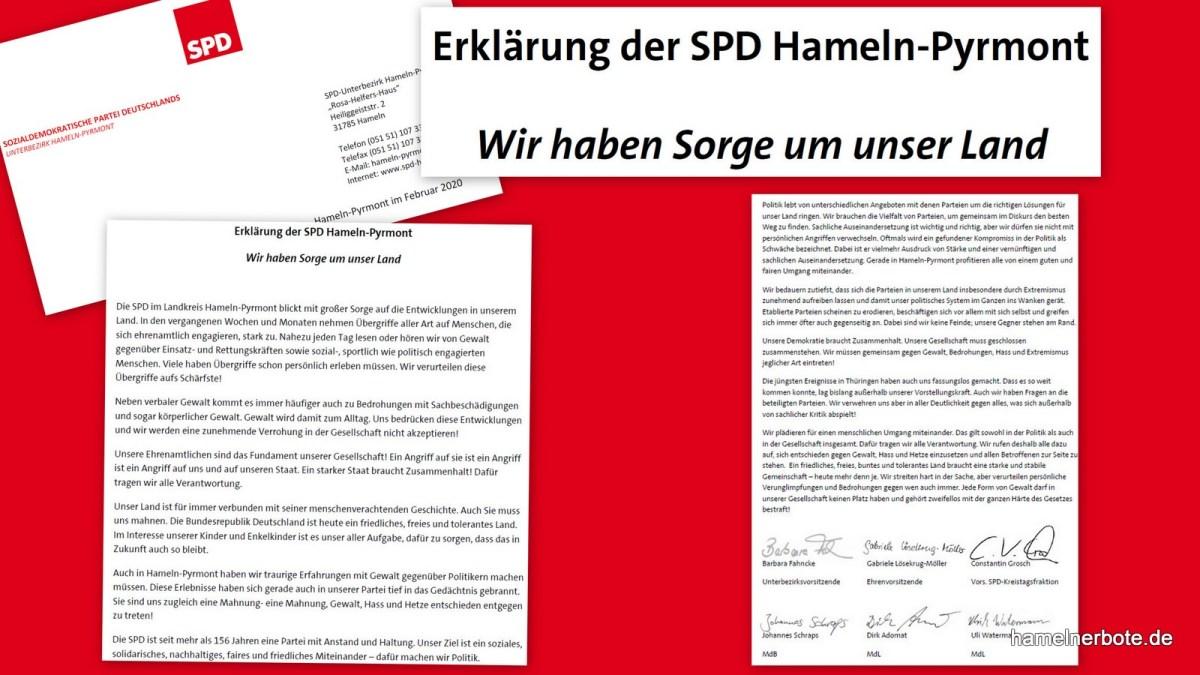 Hamelner Erklärung der SPD – Wir haben Sorge um unser Land
