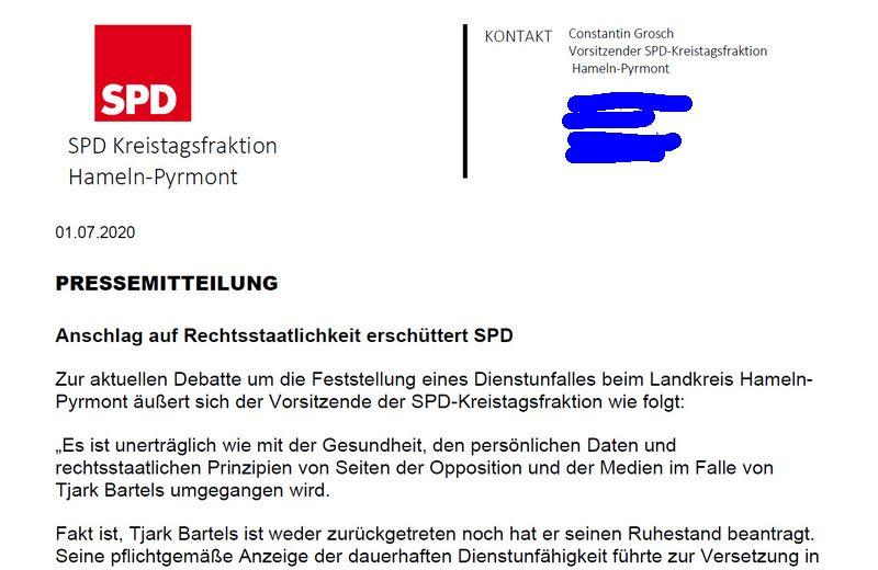 Pressemitteilung der SPD Kreistagsfraktion + Radiomeldung