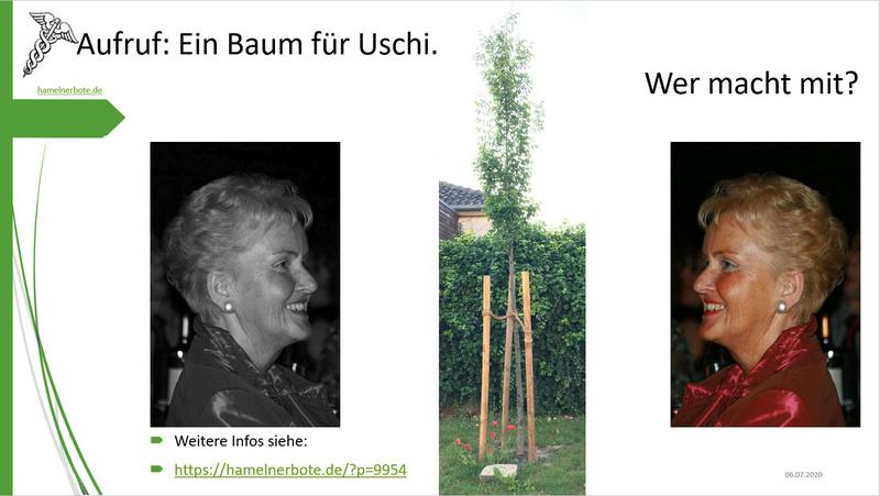 Sammelaufruf: Ein Baum für Uschi.