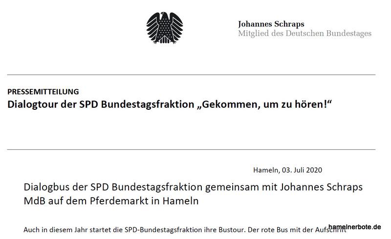 Pressemitteilung des MdB Johannes Schraps: Dialogbus der SPD Bundestagsfraktion in Hameln