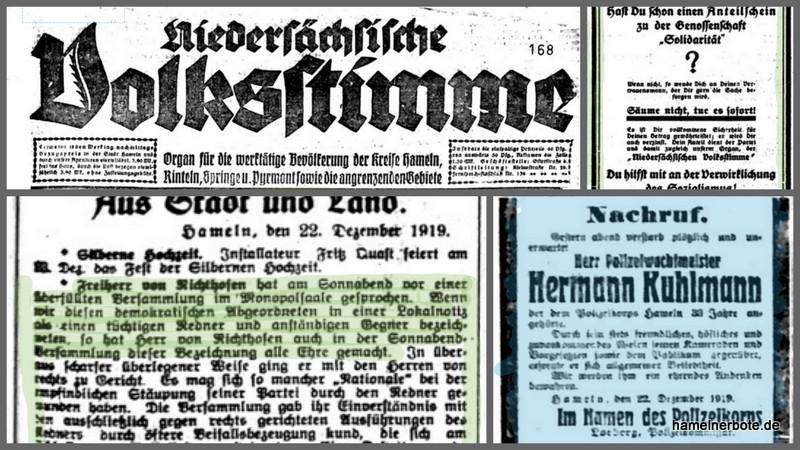 Die Niedersächsische Volksstimme vom 23.12.1919