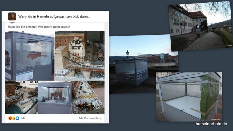 Vandalismus: Mühlenmodel beschädigt. Glasscheiben der Vitrine zertrümmert.