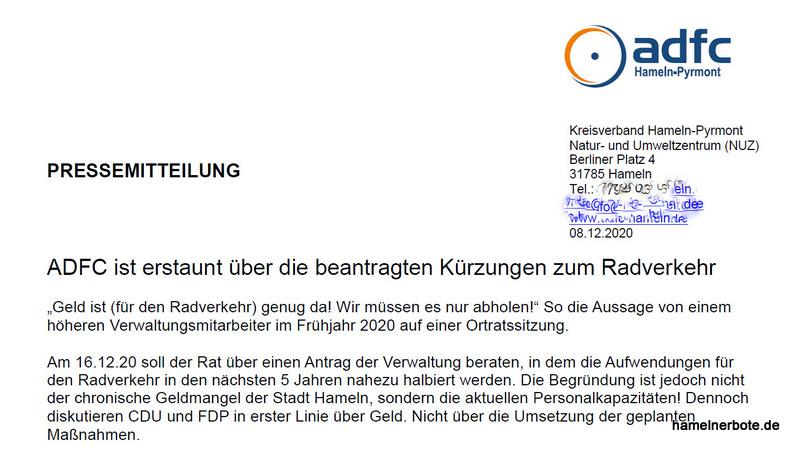 ADFC Hameln: Erstaunen über Radmittekürzungen