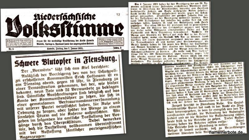 Blutiger Demonstrationsverlauf in Flensburg vor 100 Jahren. Bericht Nds. Volksstimme