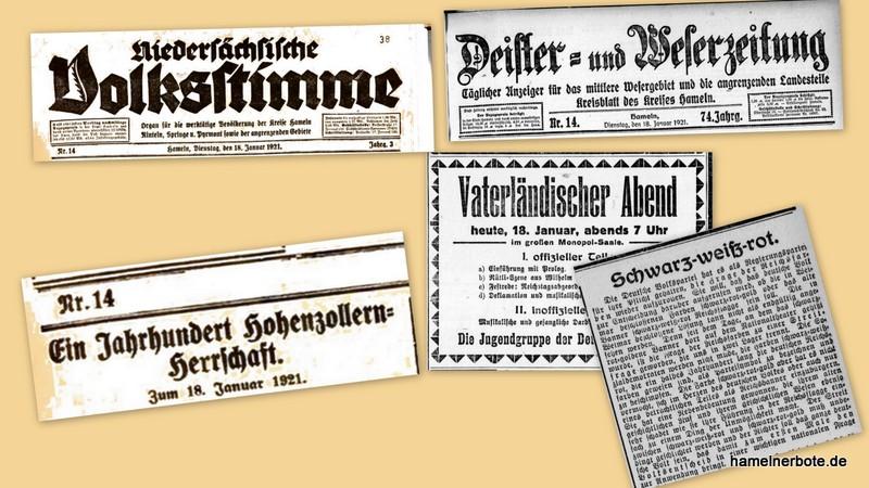 Jahrestag: 50 Jahre Reichsgründung – Ein Nachrichtenvergleich vom 18./19.01.1921 (Nds. Volksstimme versus DEWEZET)
