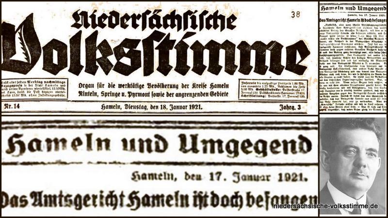 Arno Reichard – Amtsgericht Hameln befangen. Bericht Nds. Volkstimme vom 18.01.1921
