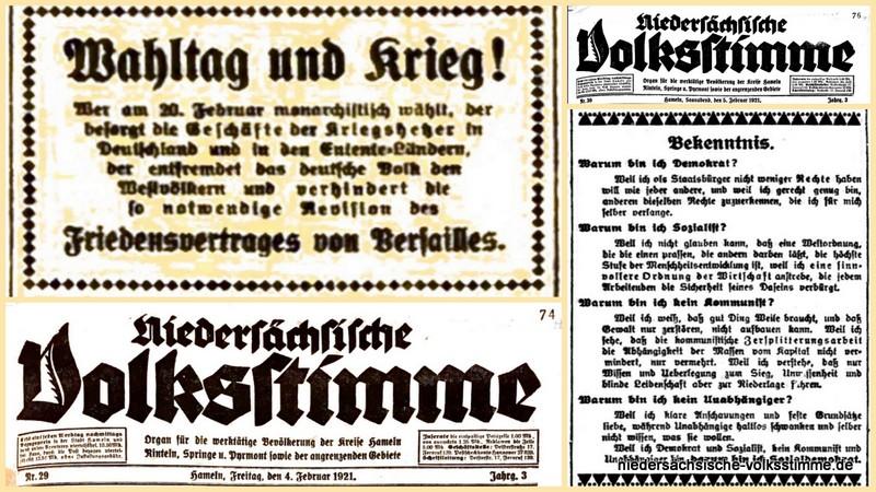 Zeitenrückblick: Hameln vor 100 Jahren im Blick der Nds. Volksstimme (04.+05.02.1921)