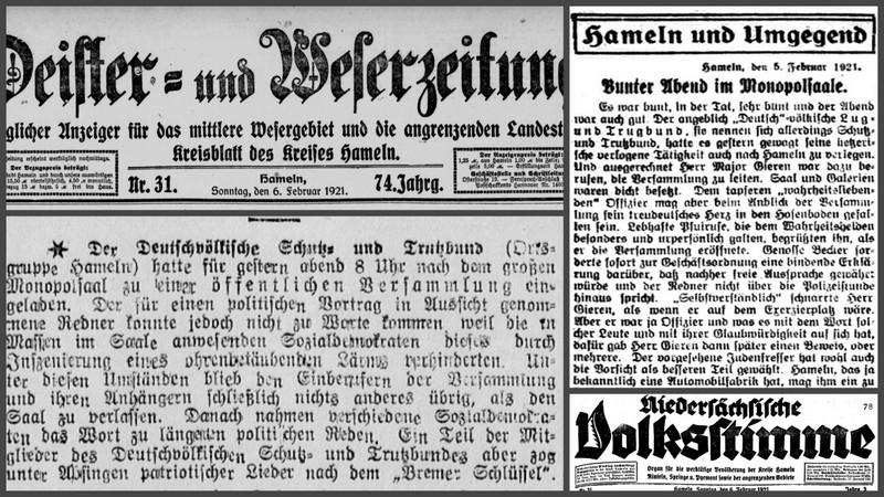 06.02.1921: Major Gieren im Monopolsaal – zwei Berichte