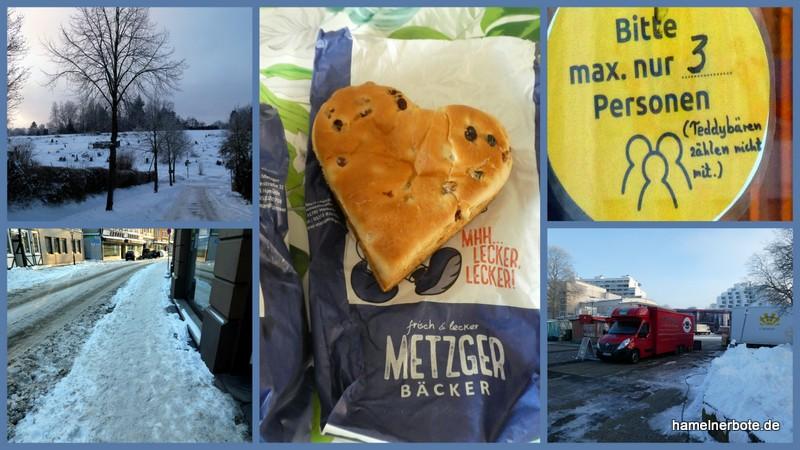 Samstagmorgen in Hameln. Gedanken und Bilder zum Wochenmarkt – Metzger Bäcker – Schnee…