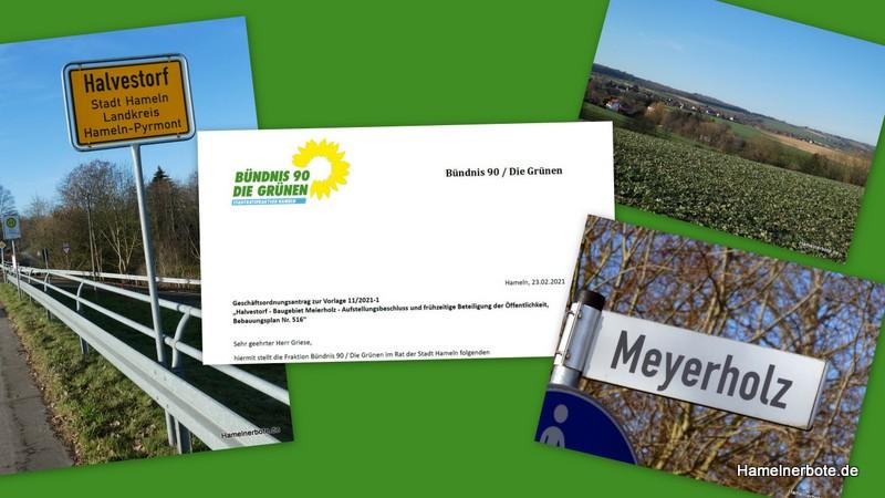 Zum Aufstellungsbeschluss des geplanten Baugebiets Meierholz in Halvestorf. Pressemitteilung – Grüne im Rat der Stadt Hameln: