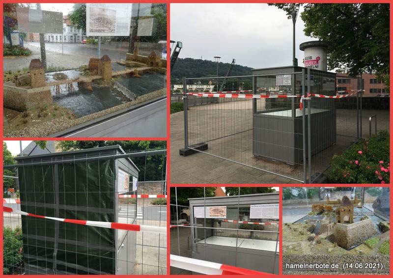 Vandalismusschaden: Weserbrückenmodel abgebaut.
