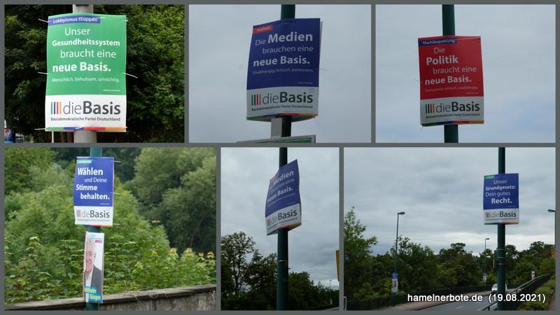 """Wahlplakate von """"Die Basis"""" in hoher Präsenz in Hameln und Emmerthal"""