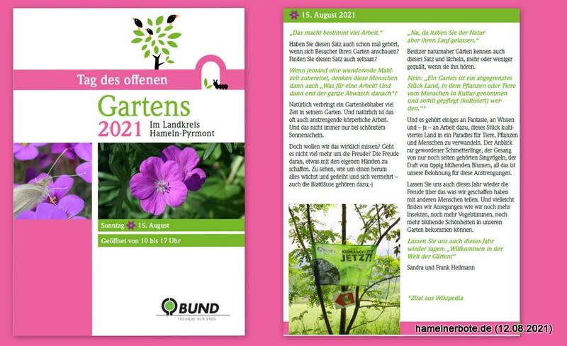 Tag des offenen Garten im Weserbergland: Sonntag, 15.08.2021