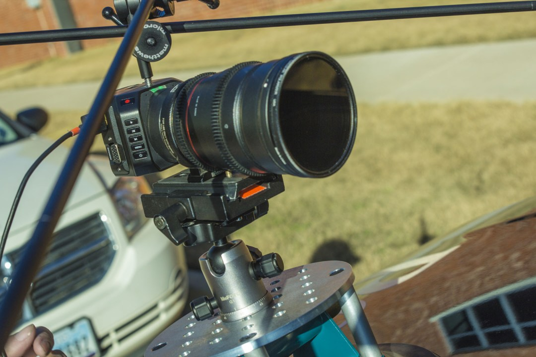 The Blackmagic Micro Cinema Camera on the Matthews Studios Equipment Master Car Mount