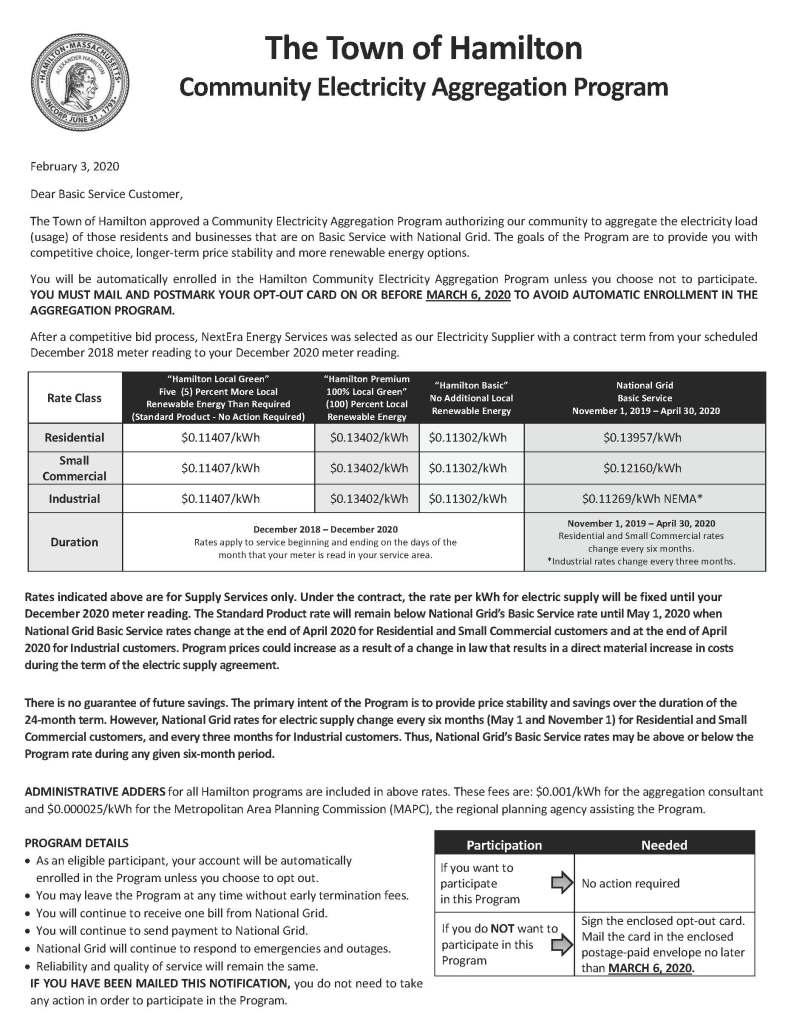 Hamilton Customer Notification Letter